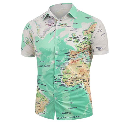 TIFENNY Button Down Shirts for Men Casual World Map Print with Button Shirt Tops Color Block Short Sleeve Blouse Green