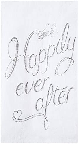 kitchen decor housewarming gift wedding favor Handmade in the USA Happily Ever After Tea Towel calligraphy design anniversary present