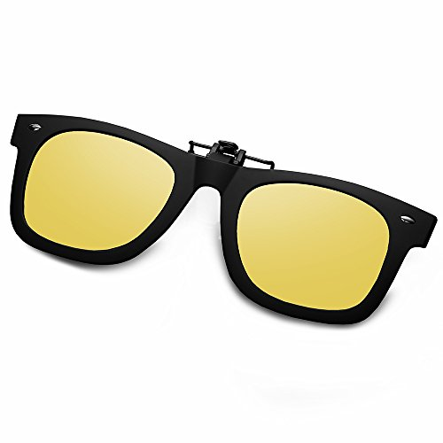 WELUK Polarized Clip On Flip Ups Sunglasses Wayfarer Style TR90 Frame UV400 Driving (Yellow, - In Frames Lenses Put Prescription Can Any You