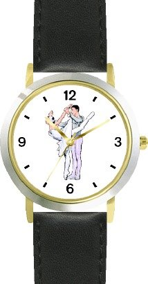 Ballerina and Ballet Dancer Couple No.2 - WATCHBUDDY DELUXE TWO-TONE THEME WATCH - Arabic Numbers - Black Leather Strap-Size-Large ( Men's Size or Jumbo Women's Size ) by WatchBuddy
