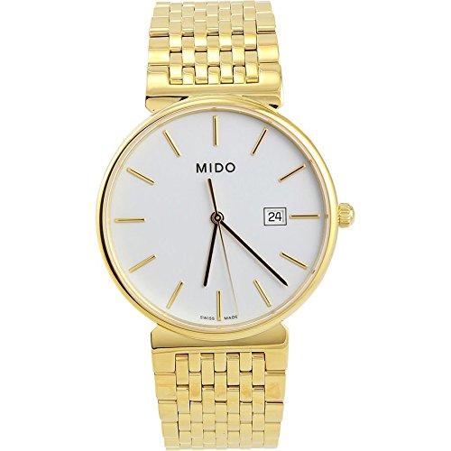 MIDO m0096103301100 dorada reloj para hombre esfera de color blanco caja de acero inoxidable movimiento de cuarzo: Amazon.es: Relojes