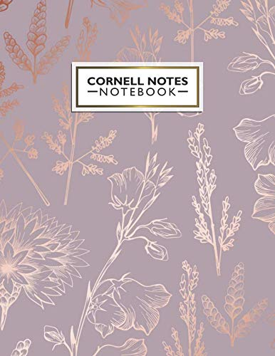 Cornell Notes Notebook: Pretty Metallic Rose Gold Cornell Note Paper Notebook. Cute Girly Large College Ruled Medium Lined Journal Note Taking System for School and ()