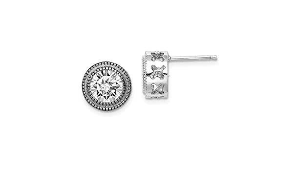 Sterling Silver Textured Cut Out Sides CZ Round Square Flower Post Stud Earrings Length 10mm