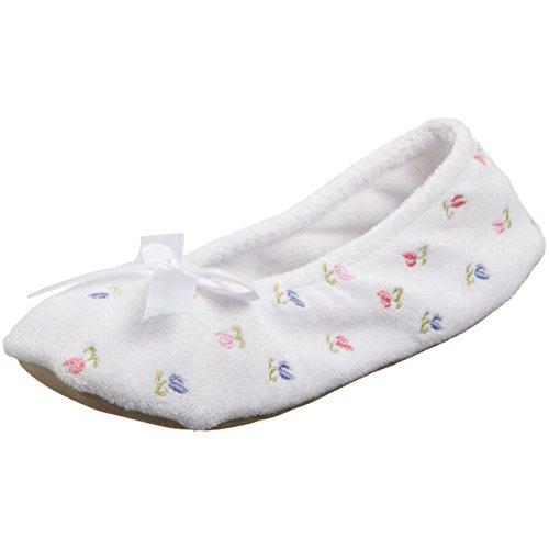 Pantofole Da Donna In Strass Floreale Ricamato Con Firma Isotoner Bianche
