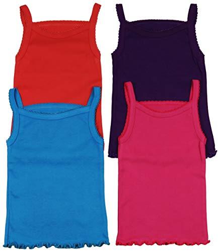 ToBeInStyle Girls' 4 Pack Ruffle Hem Spaghetti Strap Tops - Vibrant - Size 6 (Shirt Girls Strap Spaghetti)