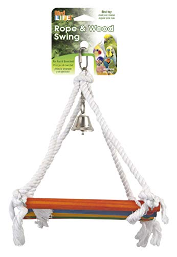 (Penn Plax BA1218 Rope and Wood Platform Swing Bird Toy with Bell)