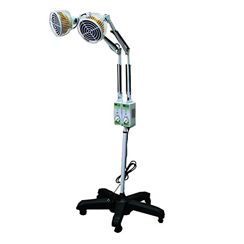 TDP Lamp Double Head with Stand - TDP Far Infrared Mineral Heat Lamp with 2 (Two) Heating Plate - Floor Standing Infrared Heater for Heat Therapy - Get Relief From Pain Arthritis Inflammation and More