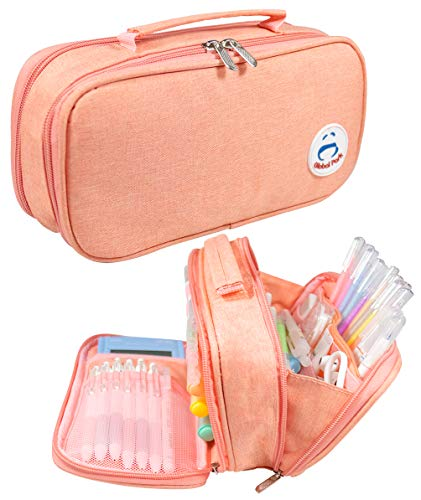 Pencil Case Pen Bag Holder Pouch Large Handle Big Capacity Desk Organizer Storage Marker Box Stationary Makeup Cosmetic Double Zippers for School Office Students Teen (pink1)