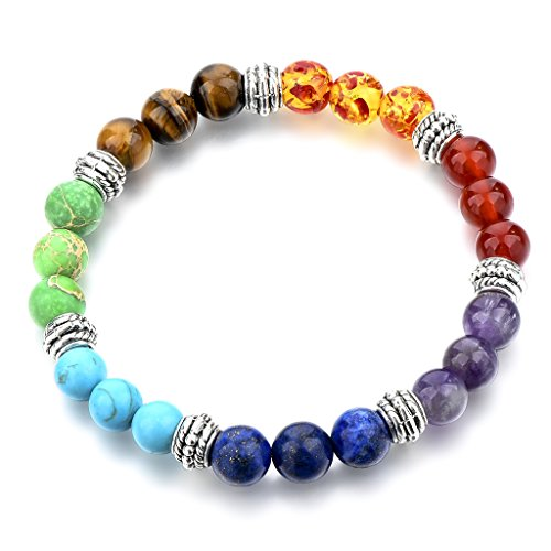 Choker Handmade 7 Chakras Gemstone Rainbow Round Bead Charm Bracelets for Women Mother Girl Gift (Gem Chakra)