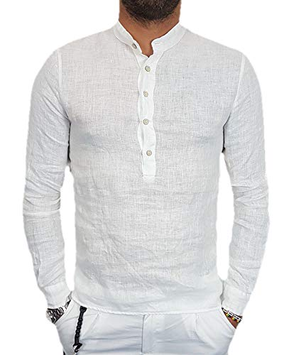 (SySea Mens Casual V Neck Cotton Linen Long Sleeve Hippie Shirts Banded Collar Henley Tops with Buttons (X-Large, 1 White))