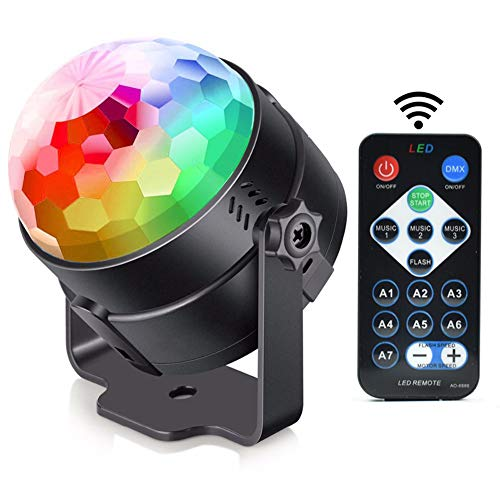 Alotm Sound Activated RGB Disco Ball Party Disco Lights with Remote Control DJ Lighting, Strobe Lamp 7 Modes Stage Par Light for Home Dance Parties Birthday Bar Karaoke Wedding Show Club Pub ()