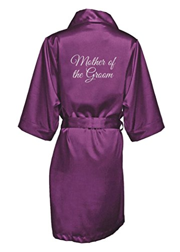 Zynotti Women's Silver Glitter Print Mother of The Groom Getting Ready Bridal Party Wedding Kinomo Eggplant Purple Satin Robe, 1X/2X (22-26)