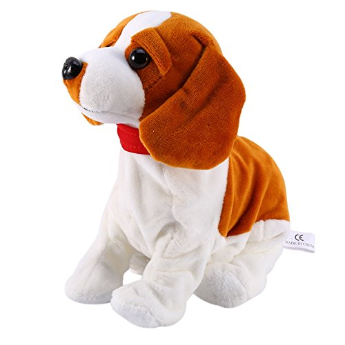 Electronic Sound Control Dogs Interactive Puppy Robot Pet Dog Bark Stand Walk Soft Toys For Kids (Color:Brown)