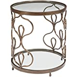 Ashley Furniture Signature Design - Fraloni Traditional Round Glass-Top End Table - Bronze Finish