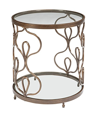 Round Traditional Table - Ashley Furniture Signature Design - Fraloni Traditional Round Glass-Top End Table - Bronze Finish
