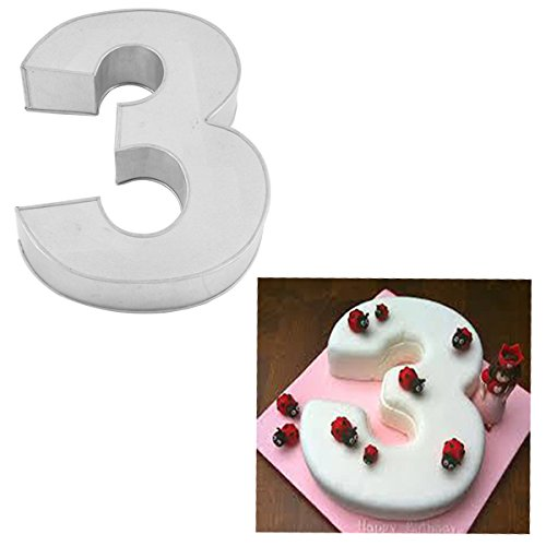 Small Number Three Birthday Wedding Anniversary Cake Tins / Pans / Mould by Falcon 10
