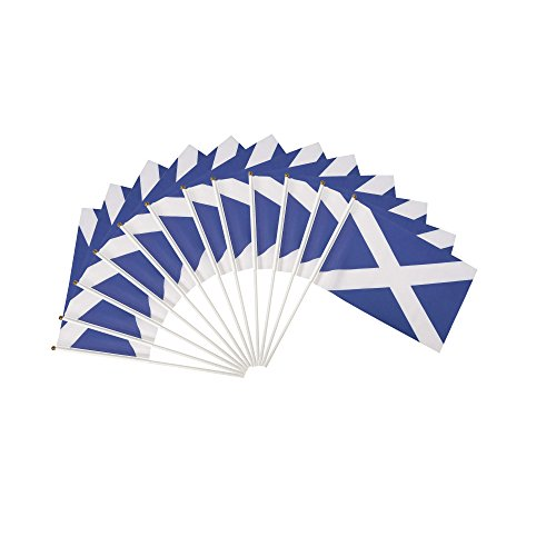 (Scotland Polyester Country Flags Desk Outside Waving Parade (12-Pack Hand Flag))