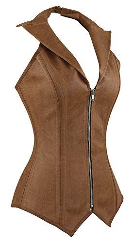 Charmian Women's Steampunk Rock Retro Halter Spiral Steel Boned Vest Corset Top 5