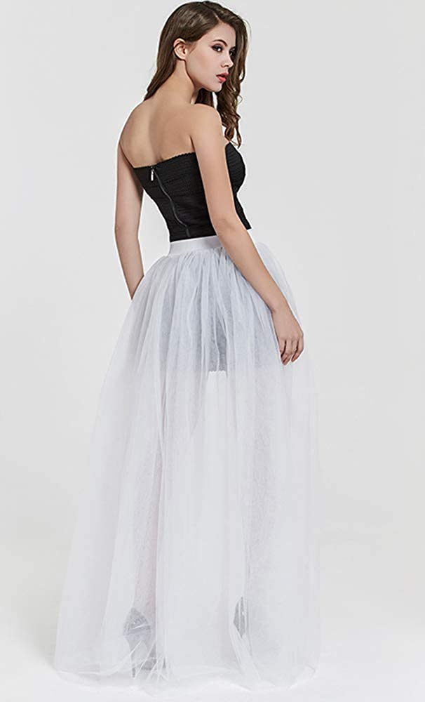 KoKoHouse Womens 4 Layers Mesh Tutu Tulle Long Detachable Train Skirt Overskirt for Wedding Party