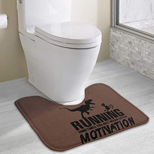 Bennett11 Running Sometimes Just Need Motivation Bath Rugs,U-Shaped Bath Mats,Soft Memory Foam Bathroom Carpet,Nonslip Toilet Floor Mat 19.2″x15.7″