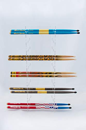 GBA Drumstick Display - Acrylic Collector Drumstick Rack - 10 Sets - For Displaying Hard Rock Cafe and Collector Drumsticks (Wall Drum)