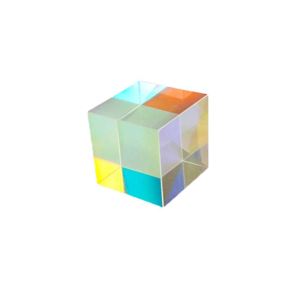 lievevt Prisme de Verre 1 Pack Cube Six-Sided Bright Light Refractor Crystal pour Science Physics Outils D'enseignement DIY Décoration