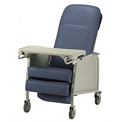 Three Position Reclining Chair With Collapsible TV Table   Invacare 3  Position Geri Recliner   Blue