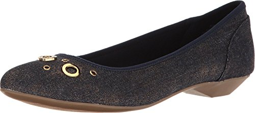 Anne Klein Womens Orene Fabric Pointed Toe Slide Flats, Blue, Size 6.5