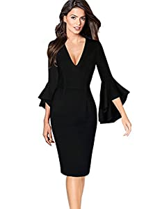 VfEmage Womens Sexy V-Neck Bell Sleeves Work Party Cocktail Sheath Dress