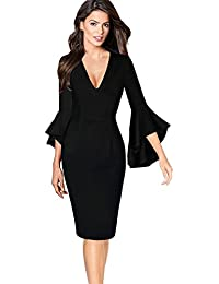 Womens Sexy V-Neck Bell Sleeves Work Party Cocktail Sheath Dress