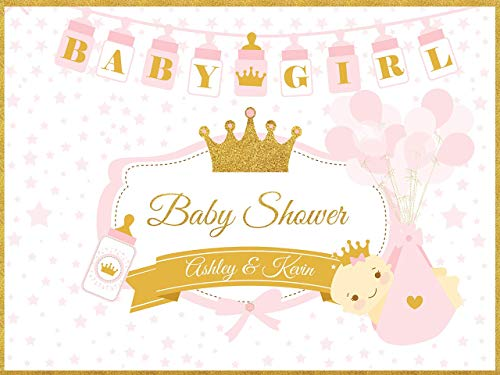 - Personalized Pink and gold party Supplies Little Princess Royal Baby Shower Decorations, Crown Wall Poster, Glitter, Tiara, Baby Girl, Handmade Party Supply Banner Backdrop, Size 24x36, 48x24, 48x36
