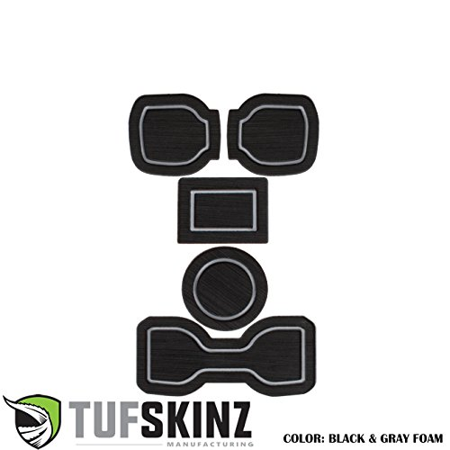 TufSkinz 2016-Up Toyota Tacoma 3RD GEN Interior Cup Holder Inserts w/QI Charger (Black/Gray, Automatic Transmission – DO NOT Include QI Insert)