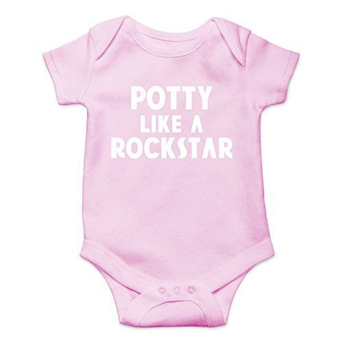 CBTWear Potty Like a Rockstar Funny Dirty Stinky Diaper Cute Novelty Infant One-Piece Baby Bodysuit (Newborn, Pink) ()