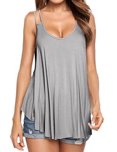 Women Loose Double Strap Flowy Blouse Cami Vest Tank Tops Summer S-XXL by Bulges