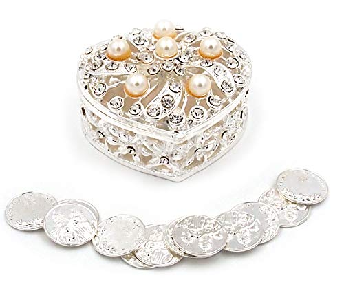 Joice Gift Silver Elegant Pearl Rhinestone Wedding Arras Heart Shape Box Set with Unity Coins