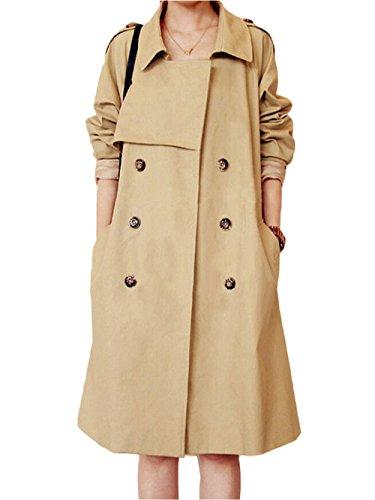 Cappotto Giacca Donna Stile Pulsanti Ortografico Beige Cotone I Vento Di Giacche A Tyaw Lungo Colore wxf4tx