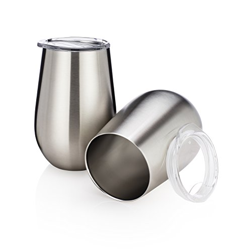 Stainless Steel Stemless Wine Glasses by Avito- Set of 2 Double Walled - Insulated Lowball Tumbler 12 Oz with Clear Lid - Shatterproof - BPA Free Healthy Choice - Best Value