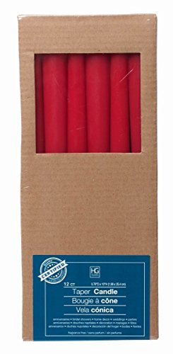 Hosley Set of 12 Red Unscented Taper Candles, 10 High. Bulk Buy, Using Wax Blend. Ideal for Wedding, Emergency Lanterns, Spa, Aromatherapy, Party, Reiki, Church, Vigil O4