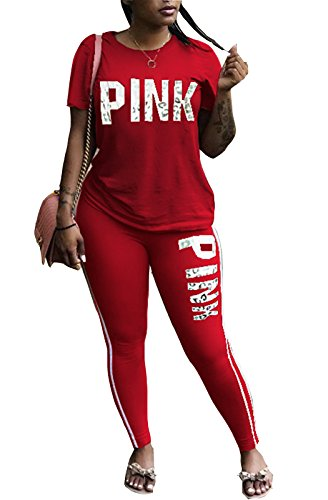 FEIYOUNG Women Pink Word Letter Print V Neck Sweatshirt Pantsuits Sweatpants Jumpsuits 2 Piece Outfits