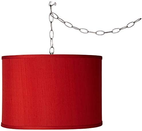 Brushed Silver Plug in Swag Pendant Light 13 1 2 Wide Modern Red Beige Textured Faux Silk Drum Shade Fixture for Kitchen Island Dining Room – Possini Euro Design