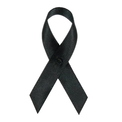 250 USA Made Black Satin Awareness Ribbons - Bag of 250 Fabric Ribbons with Safety Pins (Many Colors Available) (Pin ()