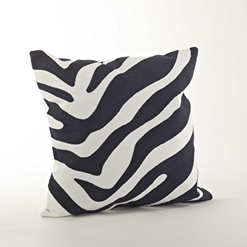 Crewel Work Zebra Patterned Decorative Down Filled Throw Pilow (Navy blue case only)