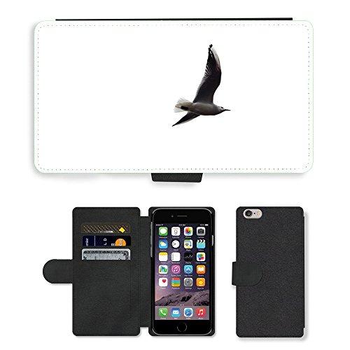 "Just Phone Cases PU Leather Flip Custodia Protettiva Case Cover per // M00127798 Contexte Oiseau Blanc Vol // Apple iPhone 6 PLUS 5.5"""