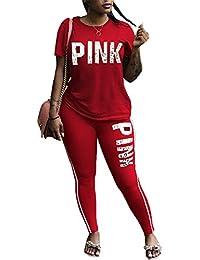 Women Pink Word Letter Print V Neck Sweatshirt Pantsuits Sweatpants Jumpsuits 2 Piece Outfits