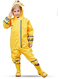 Kids Waterproof Yellow Raincoat Hooded Button Down Reflective Coverall Jumpsuit Rain Wear for Boys Girls