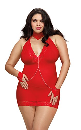 Dreamgirl Women's Plus Chemise with Wrist Restaints and G-String, Lipstick Red, One Size (Dreamgirl Lipstick)