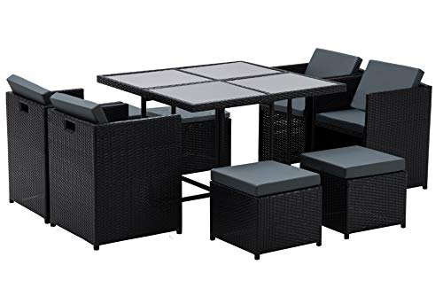MCombo Aluminum Outdoor Wicker Rattan Dining Table(42.5Inchx 42.5Inch x29Inch) Chairs Set Space Saving Patio Furniture Cushioned Seats Conversation Set with Dark Tempered Glass 6080 (9PC) (Space Sets Patio Small)