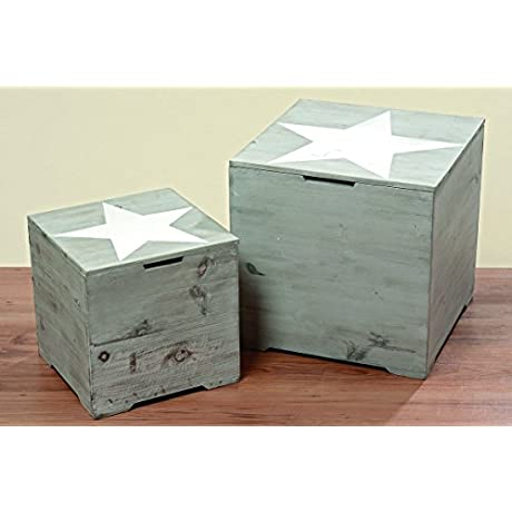 The Rustic Cape Cod Star Decorative Furniture Cubes Set Of 2 Sustainable Wood Quality Hardware Driftwood Gray 15 3 4 X 15 3 4 X 15 3 4 And 11 X 11 X 11 Inches By Whole House Worlds