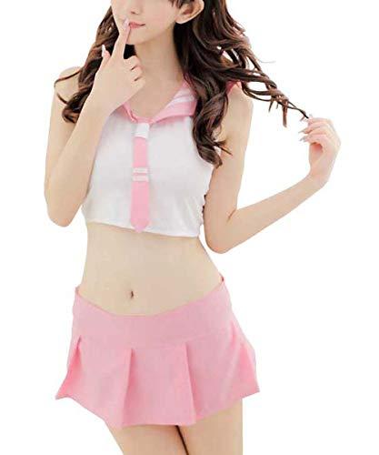 Aedericoe Pink School Girl Outfit Naughty School Girl Uniform Halloween Cosplay Costume