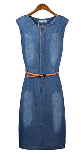 Happy Womens Fashion Casual Slim Sleeveless Overalls Long Denim Dress